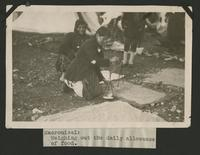 "Weighing out the daily allowance of food, Macronissi (photograph), circa 1922<blockquote class=""juicy-quote"">Photo taken at the refugee camps on the island of Macronissi, Greece after the evacuation of Smyrna (Izmir), Turkey.</blockquote><div class=""view-evidence""><a href=""http://doctordoctress.org/islandora/object/islandora:1492/story/islandora:1500"" class=""btn btn-primary custom-colorbox-load""><span class=""glyphicon glyphicon-search""></span> Evidence</a></div>"